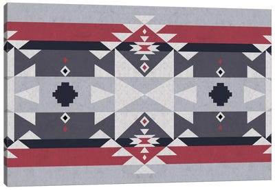 Red & Gray Tribal Pattern Canvas Art Print