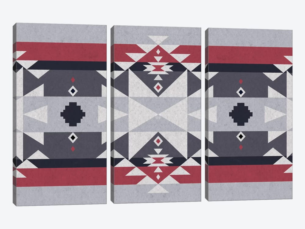 Red and Gray Tribal by iCanvas 3-piece Canvas Wall Art