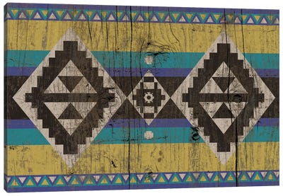 Blue & Yellow Tribal Pattern on Wood Canvas Art Print