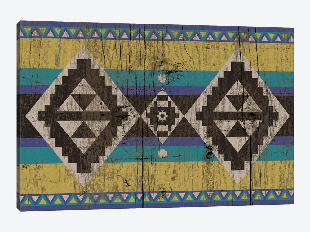 Blue & Yellow Tribal Pattern on Wood by 5by5collective 1-piece Canvas Artwork