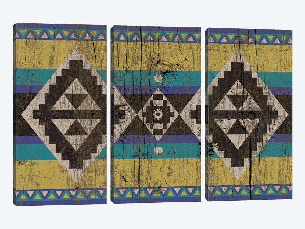 Blue & Yellow Tribal Pattern on Wood by 5by5collective 3-piece Canvas Artwork