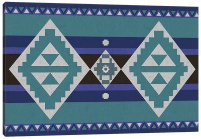 Shades Of Blue Tribal Pattern Canvas Art Print