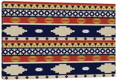Blue & Orange Tribal Pattern II Canvas Art Print