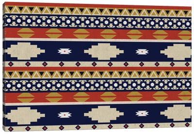 Blue & Orange Tribal Pattern II Canvas Art Print