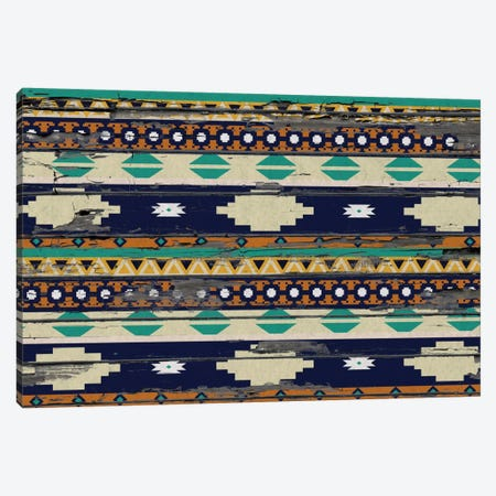 Blue, Beige & Yellow Tribal Pattern on Wood Canvas Print #TXT37} by 5by5collective Canvas Art Print