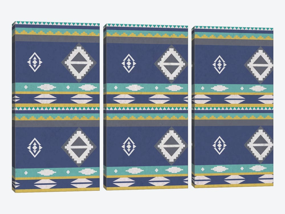 Ice Blue Tribal Pattern 3-piece Canvas Art Print