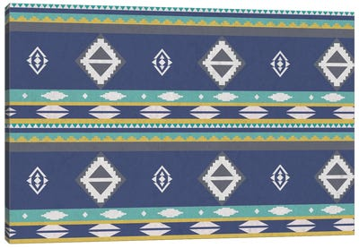 Ice Blue Tribal Pattern Canvas Art Print