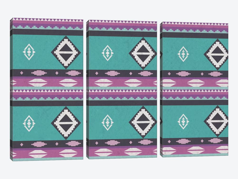 Tribal Blue and Purple by iCanvas 3-piece Canvas Art Print