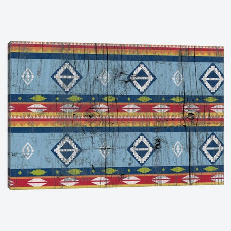 Blue & Red Tribal Pattern on Wood Canvas Print #TXT41} by 5by5collective Canvas Art Print