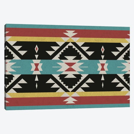 Black, Red & Blue Tribal Pattern Canvas Print #TXT43} by 5by5collective Canvas Print
