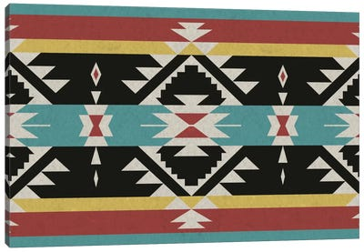 Black, Red & Blue Tribal Pattern Canvas Art Print