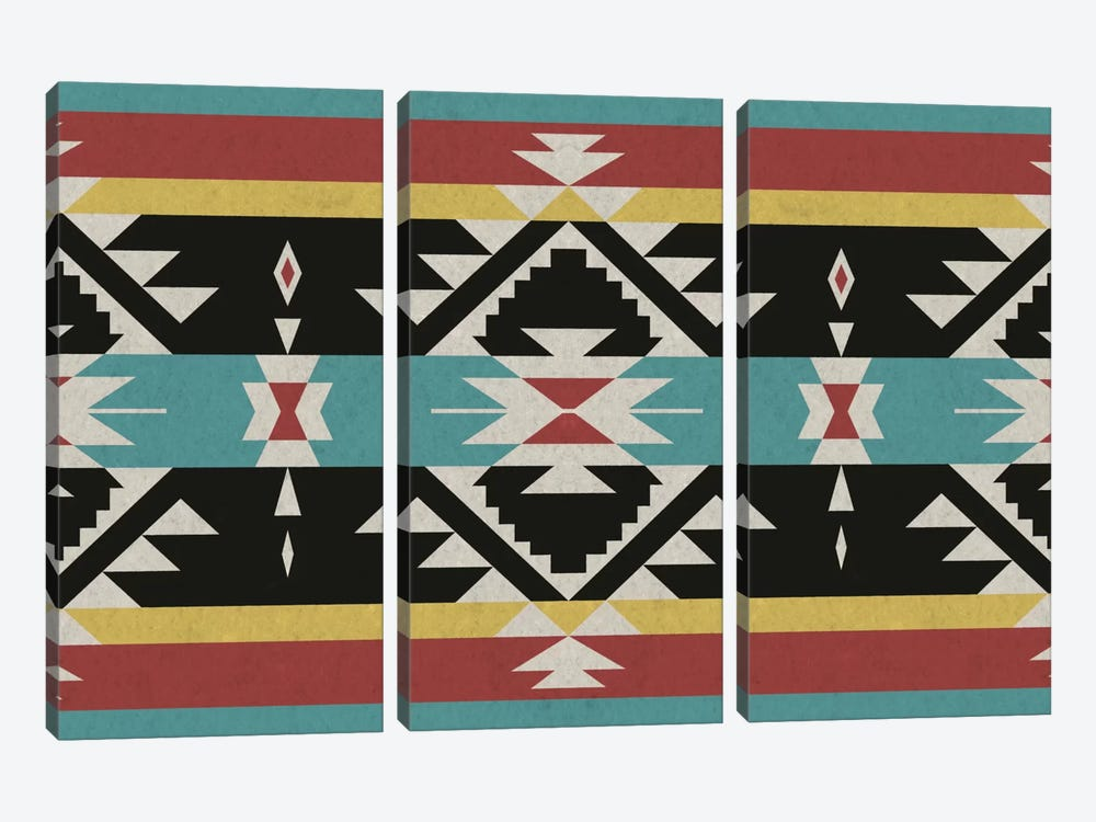 Tribal Black, Red, and Blue by iCanvas 3-piece Canvas Artwork
