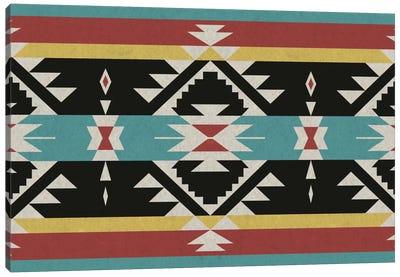 Black, Red & Blue Tribal Pattern Canvas Art Print