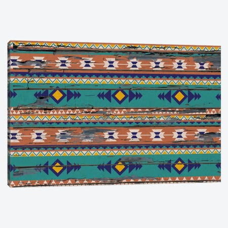 Teal & Orange Tribal Pattern on Wood Canvas Print #TXT45} by 5by5collective Canvas Wall Art