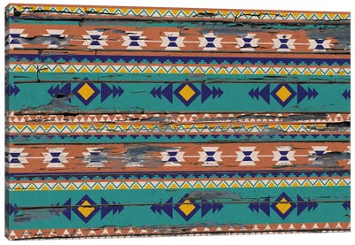 Tribal Teal and Orange Pattern Canvas Print #TXT45