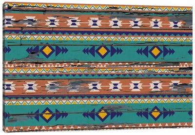 Teal & Orange Tribal Pattern on Wood Canvas Art Print