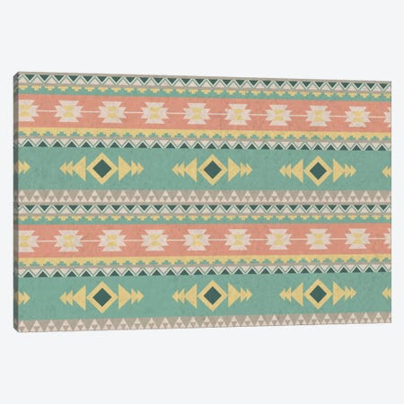 Blue & Orange Faded Tribal Pattern Canvas Print #TXT46} by 5by5collective Canvas Wall Art