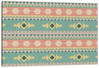 Tribal Faded Blue and Orange Pattern Canvas Print #TXT46