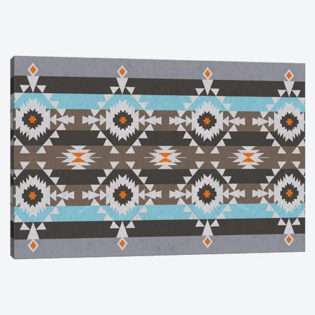 Tribal Blue and Gray Pattern Canvas Print #TXT48} by iCanvas Canvas Print