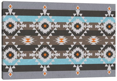 Tribal Blue and Gray Pattern Canvas Art Print