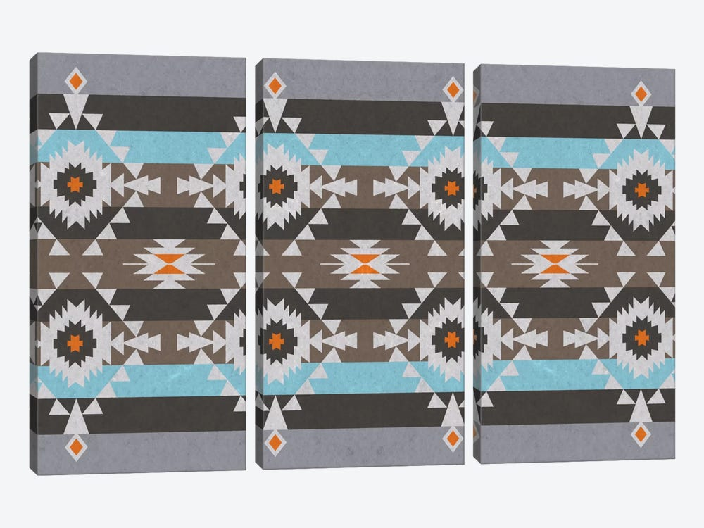 Tribal Blue and Gray Pattern by iCanvas 3-piece Canvas Art Print