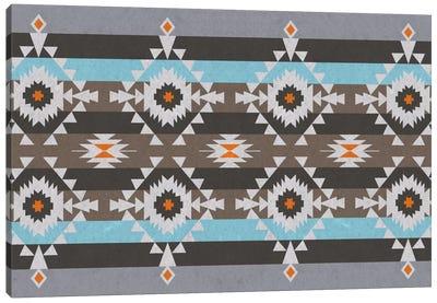 Blue & Gray Tribal Pattern Canvas Art Print