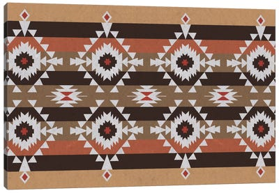 Woody Brown Tribal Pattern Canvas Art Print