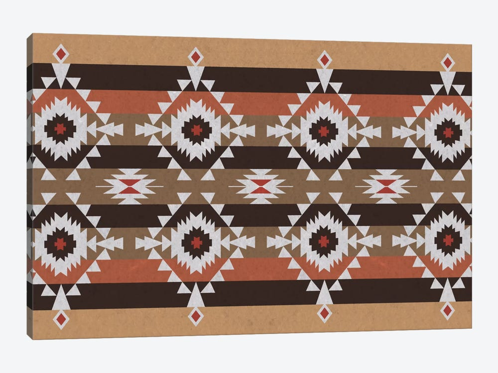 Woody Brown Tribal Pattern by 5by5collective 1-piece Canvas Wall Art
