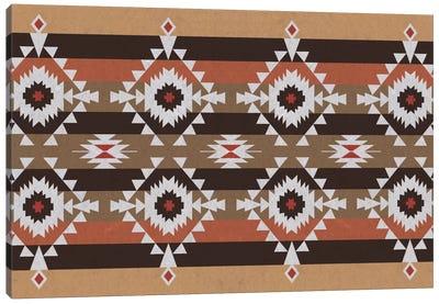 Woody Brown Tribal Pattern Canvas Art Print