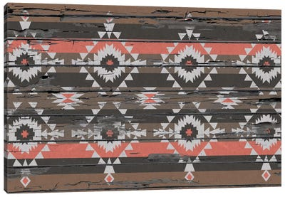 Black, Brown & Salmon Tribal Pattern on Wood Canvas Art Print