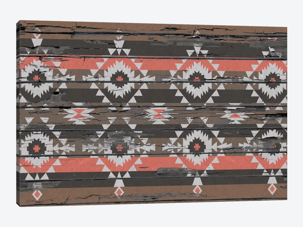 Black, Brown & Salmon Tribal Pattern on Wood by 5by5collective 1-piece Canvas Artwork