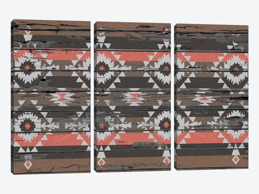 Tribal Black, Brown, and Salmon Pattern by iCanvas 3-piece Canvas Wall Art