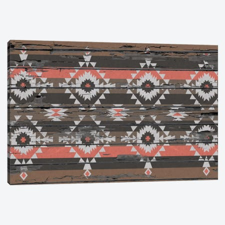 Black, Brown & Salmon Tribal Pattern on Wood Canvas Print #TXT50} by 5by5collective Canvas Art