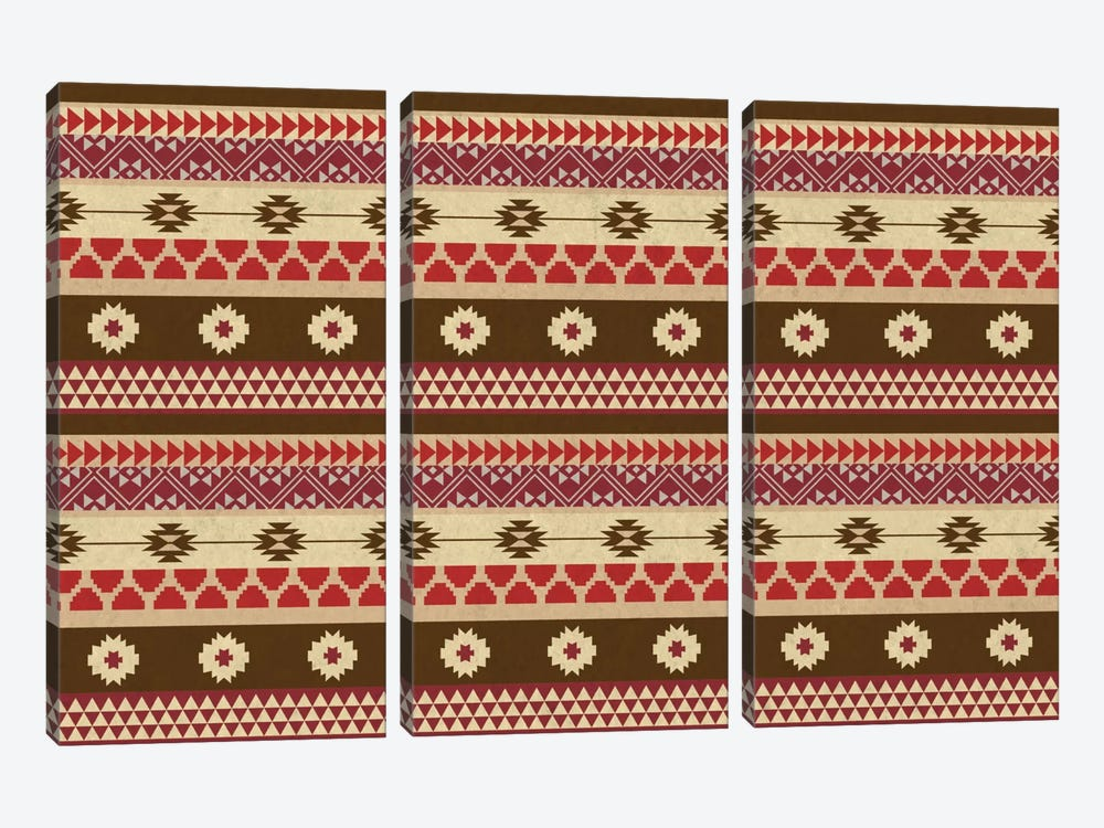 Tribal Brown and Red Floral Pattern by iCanvas 3-piece Canvas Art Print