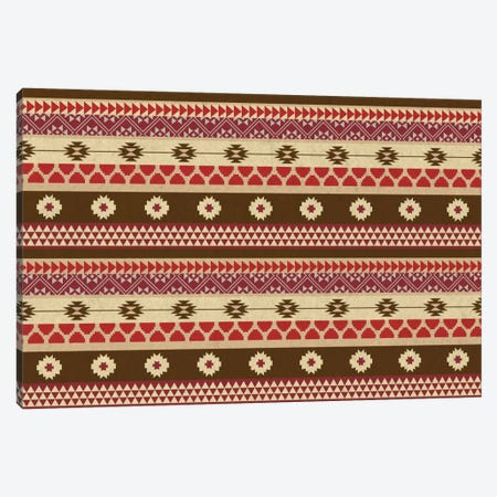 Brown & Red Floral Tribal Pattern Canvas Print #TXT51} by 5by5collective Canvas Artwork
