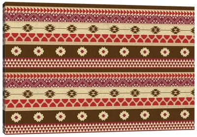 Brown & Red Floral Tribal Pattern Canvas Art Print