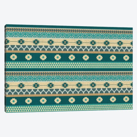Ocean Blue Floral Tribal Pattern Canvas Print #TXT52} by 5by5collective Canvas Artwork
