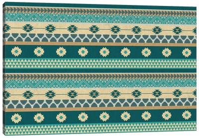 Ocean Blue Floral Tribal Pattern Canvas Art Print