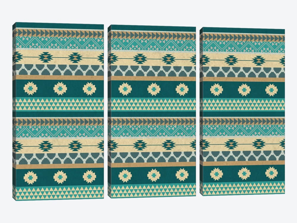 Ocean Blue Floral Tribal Pattern by 5by5collective 3-piece Canvas Artwork