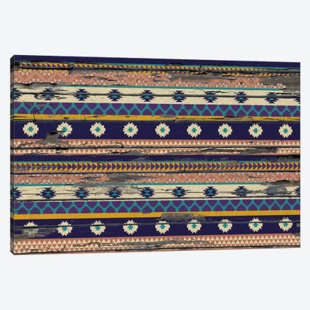 Blue, Orange & Purple Floral Tribal Pattern On Wood Canvas Print #TXT53} by 5by5collective Canvas Artwork