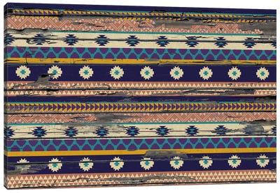 Tribal Blue, Orange, and Purple Floral Pattern Canvas Print #TXT53