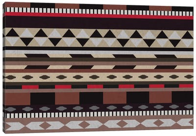 Black, Brown & Beige Tribal Pattern Canvas Art Print
