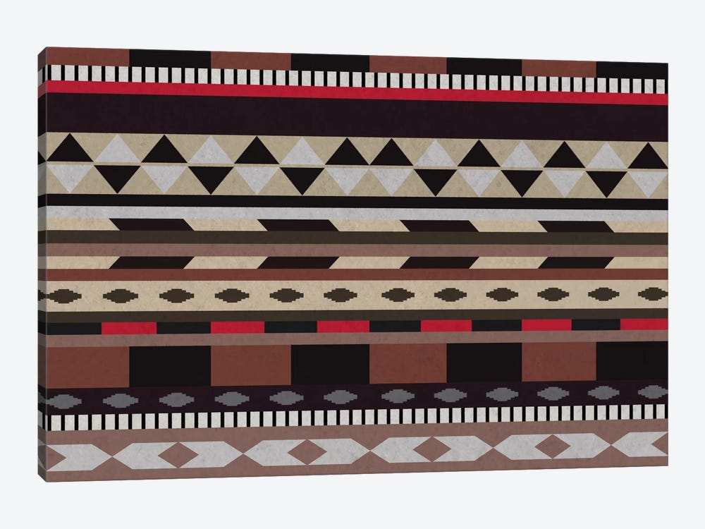 Black, Brown & Beige Tribal Pattern by 5by5collective 1-piece Canvas Art