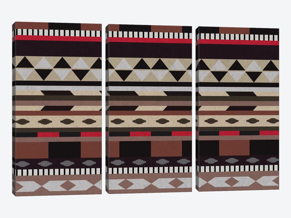 Black, Brown & Beige Tribal Pattern by 5by5collective 3-piece Canvas Art