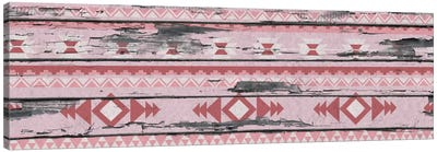 Pink Tribal Pattern on Wood Canvas Art Print