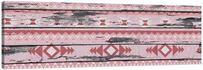 Pink Tribal Pattern on Wood Canvas Art Print