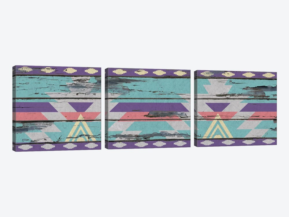 Aztec Purple Tribal Pattern on Wood by 5by5collective 3-piece Canvas Wall Art