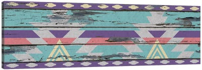 Aztec Purple Tribal Pattern on Wood Canvas Art Print