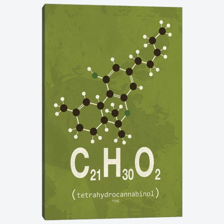 THC (Tetrahydrocannabinol) I Canvas Print #TYP15} by TypeLike Canvas Art