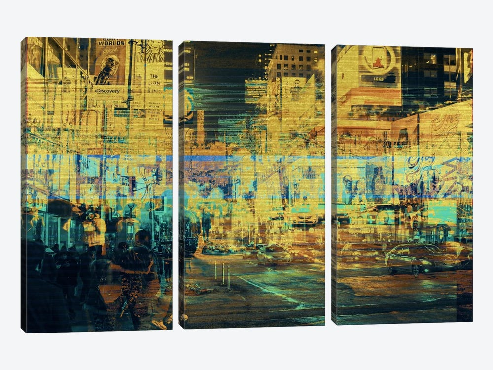 Times Squared Gold Edition by 5by5collective 3-piece Canvas Artwork